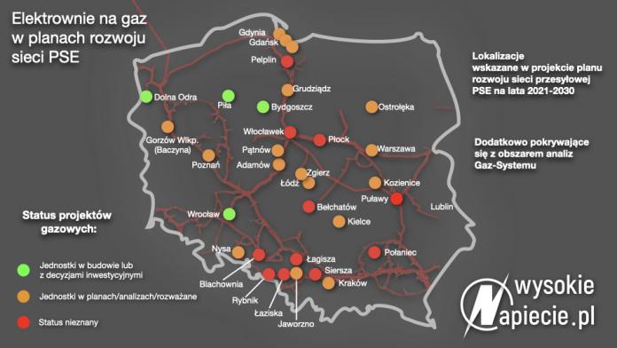 mapa gazowni